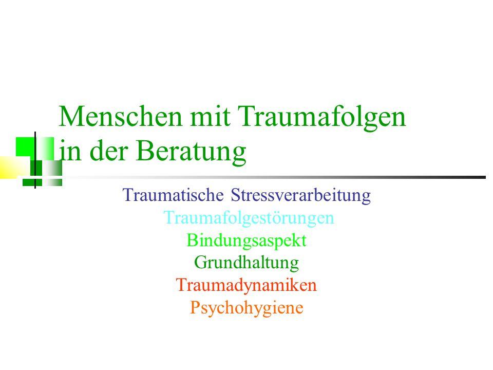 Menschen mit Traumafolgen in der Beratung Traumatische Stressverarbeitung Traumafolgestörungen Bindungsaspekt Grundhaltung Traumadynamiken Psychohygie