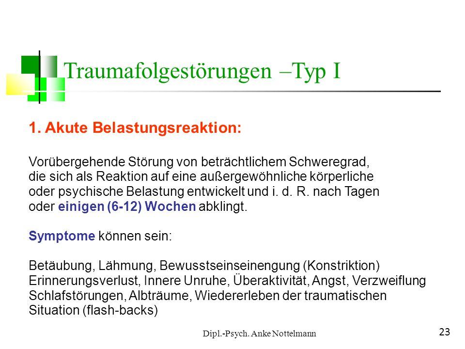 Dipl.-Psych. Anke Nottelmann 23 1. Akute Belastungsreaktion: Vorübergehende Störung von beträchtlichem Schweregrad, die sich als Reaktion auf eine auß
