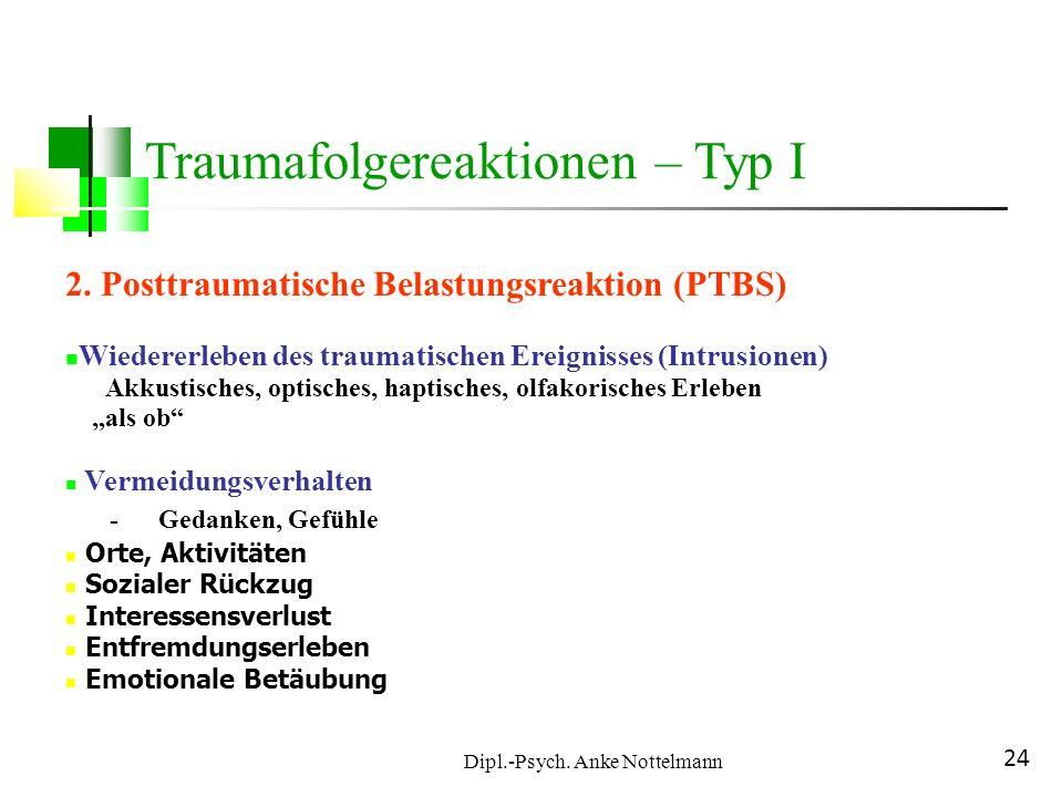 Dipl.-Psych. Anke Nottelmann 24 2. Posttraumatische Belastungsreaktion (PTBS) Wiedererleben des traumatischen Ereignisses (Intrusionen) Akkustisches,