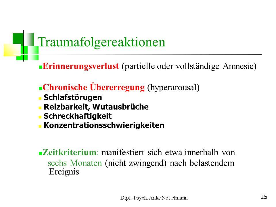 Dipl.-Psych. Anke Nottelmann 25 Erinnerungsverlust (partielle oder vollständige Amnesie) Chronische Übererregung (hyperarousal) Schlafstörugen Reizbar