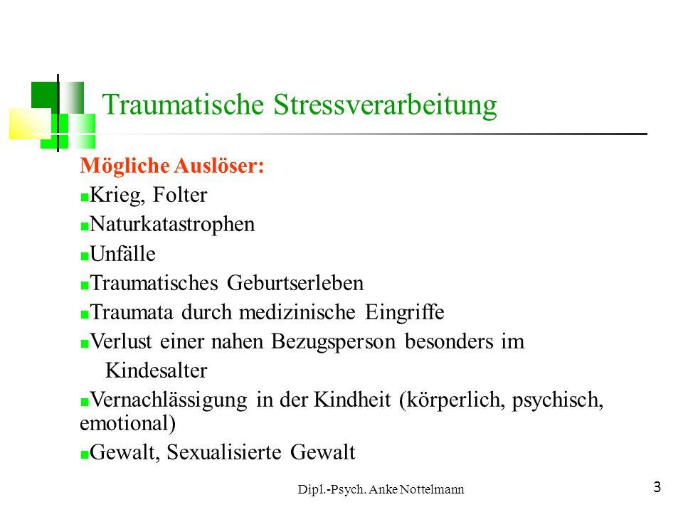 Dipl.-Psych. Anke Nottelmann 3 Traumatische Stressverarbeitung Mögliche Auslöser: Krieg, Folter Naturkatastrophen Unfälle Traumatisches Geburtserleben
