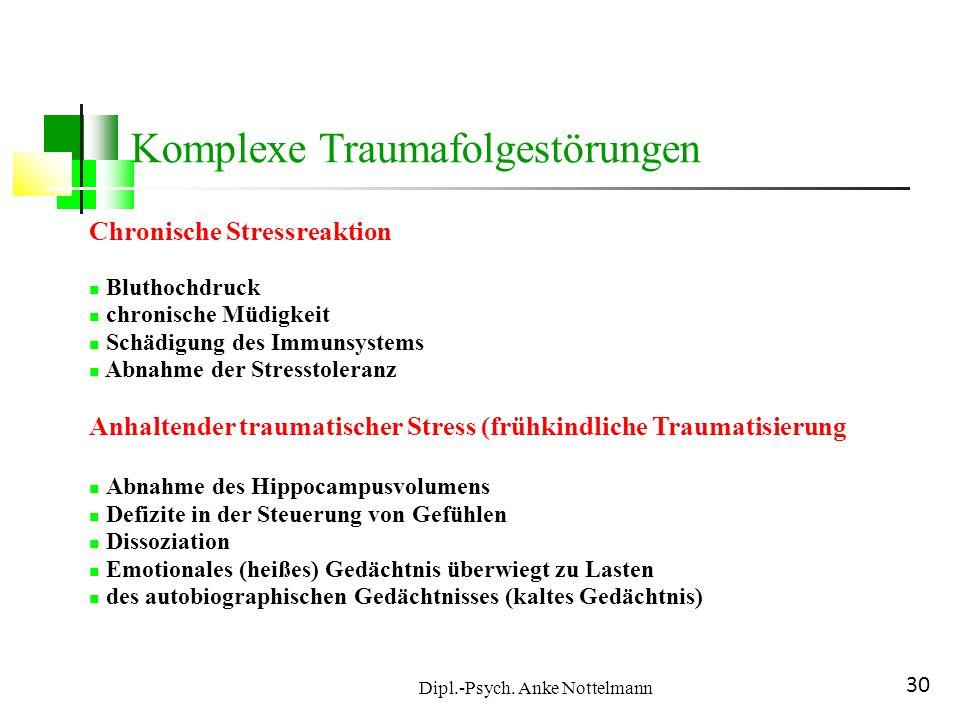 Dipl.-Psych. Anke Nottelmann 30 Chronische Stressreaktion Bluthochdruck chronische Müdigkeit Schädigung des Immunsystems Abnahme der Stresstoleranz An