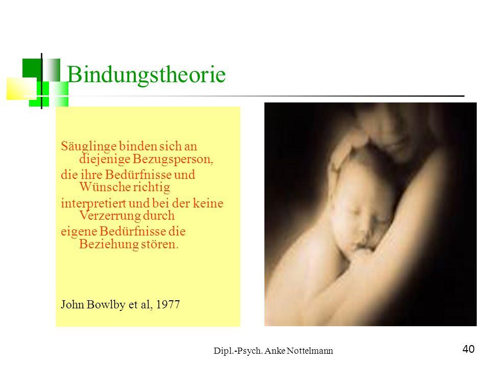 Dipl.-Psych. Anke Nottelmann 40 Bindungstheorie Säuglinge binden sich an diejenige Bezugsperson, die ihre Bedürfnisse und Wünsche richtig interpretier