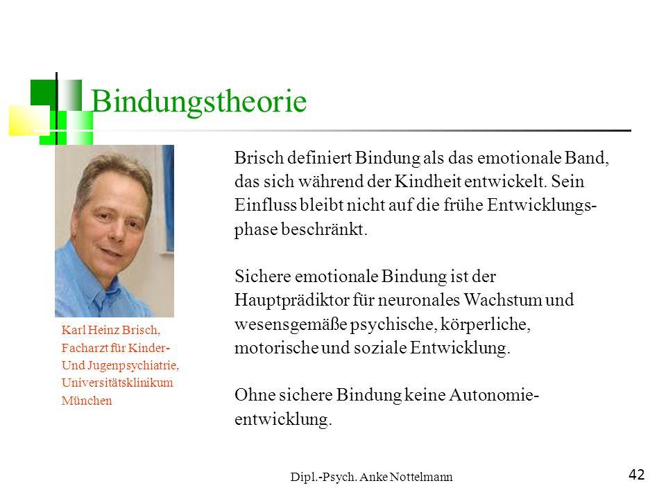 Dipl.-Psych. Anke Nottelmann 42 Bindungstheorie Karl Heinz Brisch, Facharzt für Kinder- Und Jugenpsychiatrie, Universitätsklinikum München Brisch defi