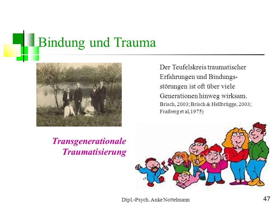 Dipl.-Psych. Anke Nottelmann 47 Bindung und Trauma Der Teufelskreis traumatischer Erfahrungen und Bindungs- störungen ist oft über viele Generationen