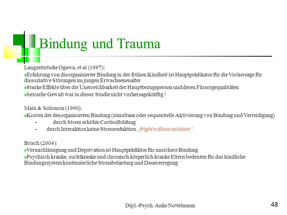 Dipl.-Psych. Anke Nottelmann 48 Bindung und Trauma Langzeitstudie Ogawa, et al (1997): Erfahrung von disorganisierter Bindung in der frühen Kindheit i
