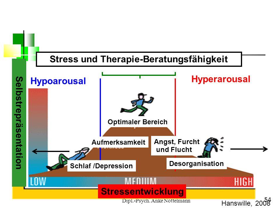 Dipl.-Psych. Anke Nottelmann 54 Selbstrepräsentation Stressentwicklung Hypoarousal Hyperarousal Stress und Therapie-Beratungsfähigkeit Schlaf /Depress