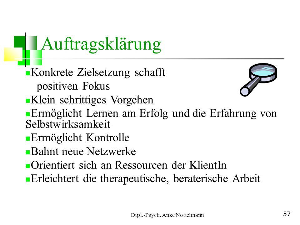 Dipl.-Psych. Anke Nottelmann 57 Auftragsklärung Konkrete Zielsetzung schafft positiven Fokus Klein schrittiges Vorgehen Ermöglicht Lernen am Erfolg un