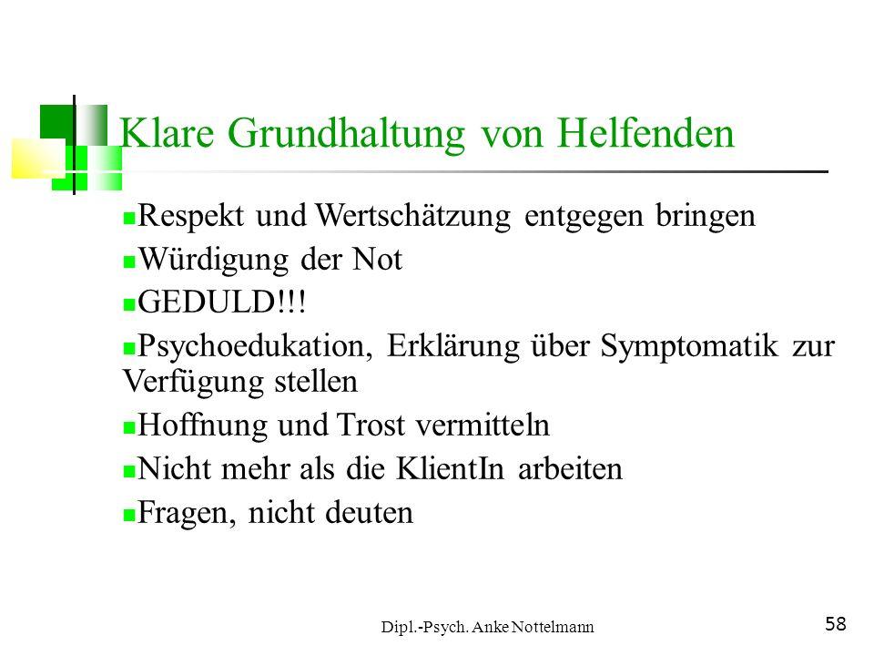 Dipl.-Psych. Anke Nottelmann 58 Klare Grundhaltung von Helfenden Respekt und Wertschätzung entgegen bringen Würdigung der Not GEDULD!!! Psychoedukatio