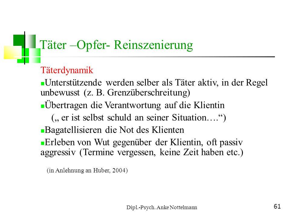 Dipl.-Psych. Anke Nottelmann 61 Täter –Opfer- Reinszenierung Täterdynamik Unterstützende werden selber als Täter aktiv, in der Regel unbewusst (z. B.