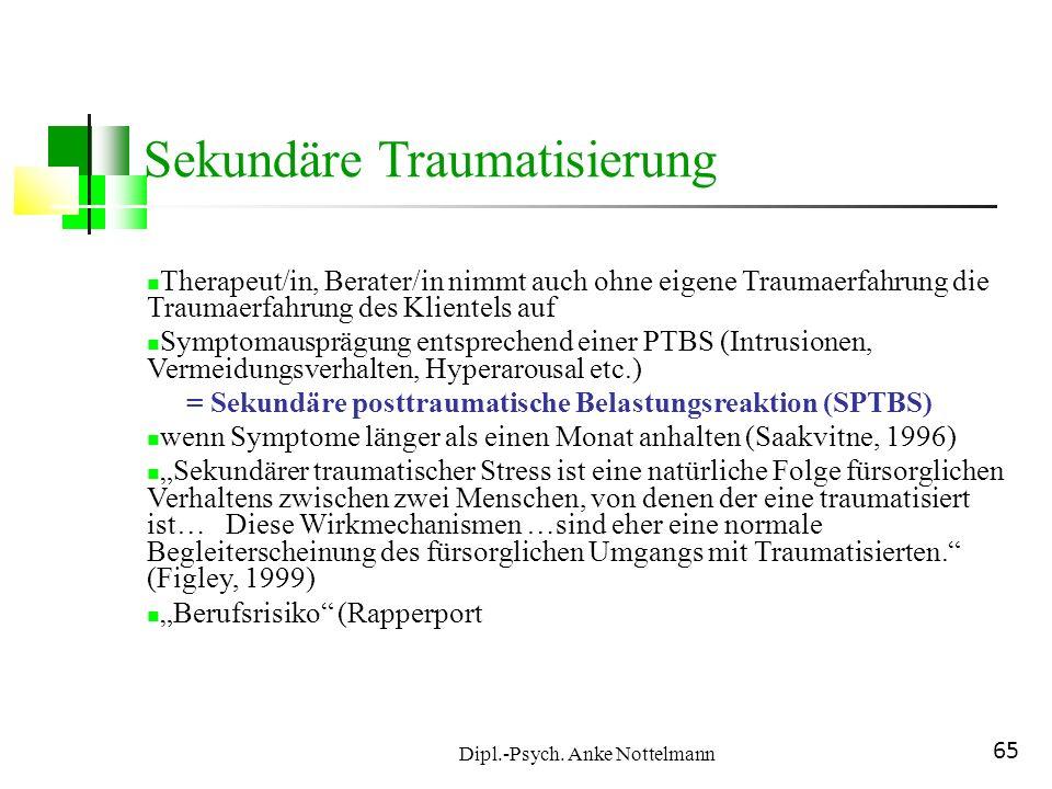 Dipl.-Psych. Anke Nottelmann 65 Therapeut/in, Berater/in nimmt auch ohne eigene Traumaerfahrung die Traumaerfahrung des Klientels auf Symptomausprägun