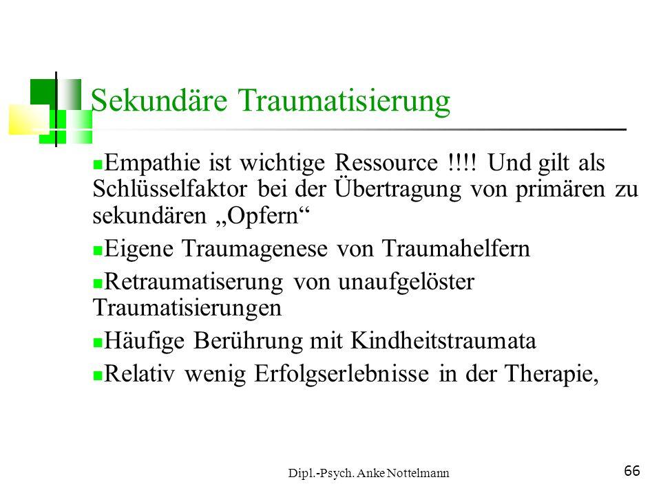 Dipl.-Psych. Anke Nottelmann 66 Empathie ist wichtige Ressource !!!! Und gilt als Schlüsselfaktor bei der Übertragung von primären zu sekundären Opfer