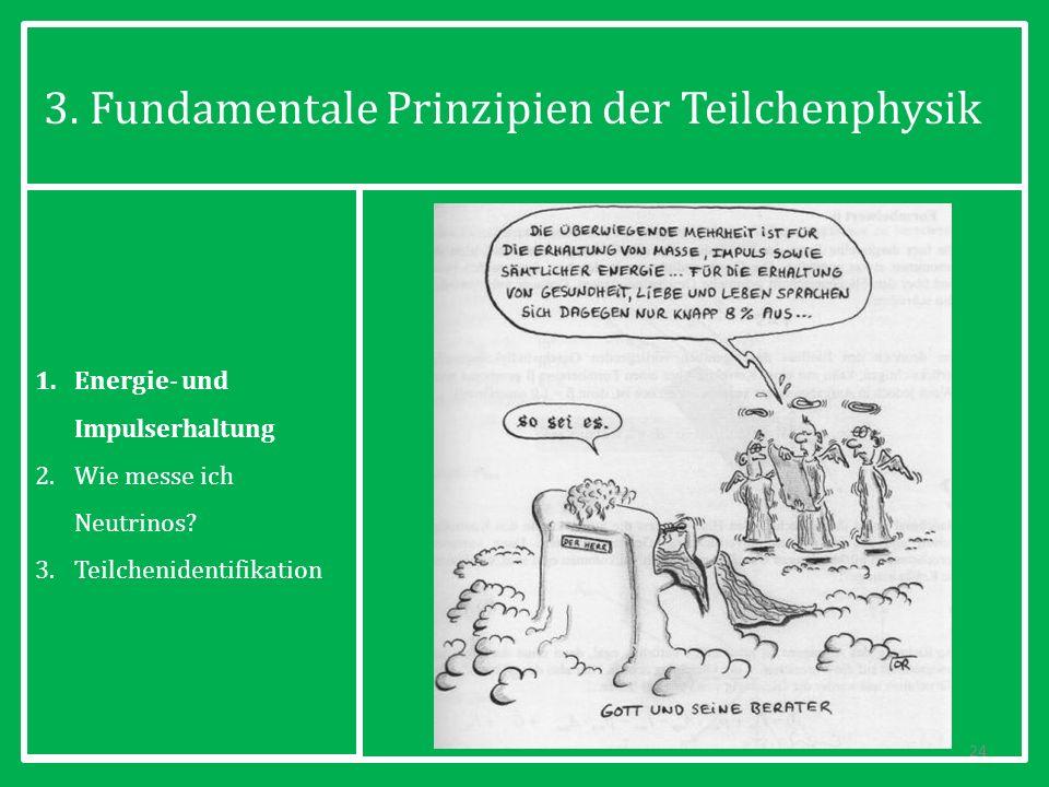 3. Fundamentale Prinzipien der Teilchenphysik 24 1.Energie- und Impulserhaltung 2.Wie messe ich Neutrinos? 3.Teilchenidentifikation