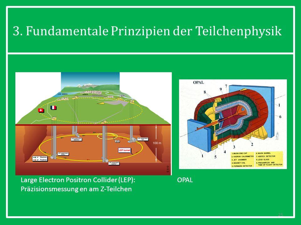 3. Fundamentale Prinzipien der Teilchenphysik 25 Large Electron Positron Collider (LEP): Präzisionsmessung en am Z-Teilchen OPAL