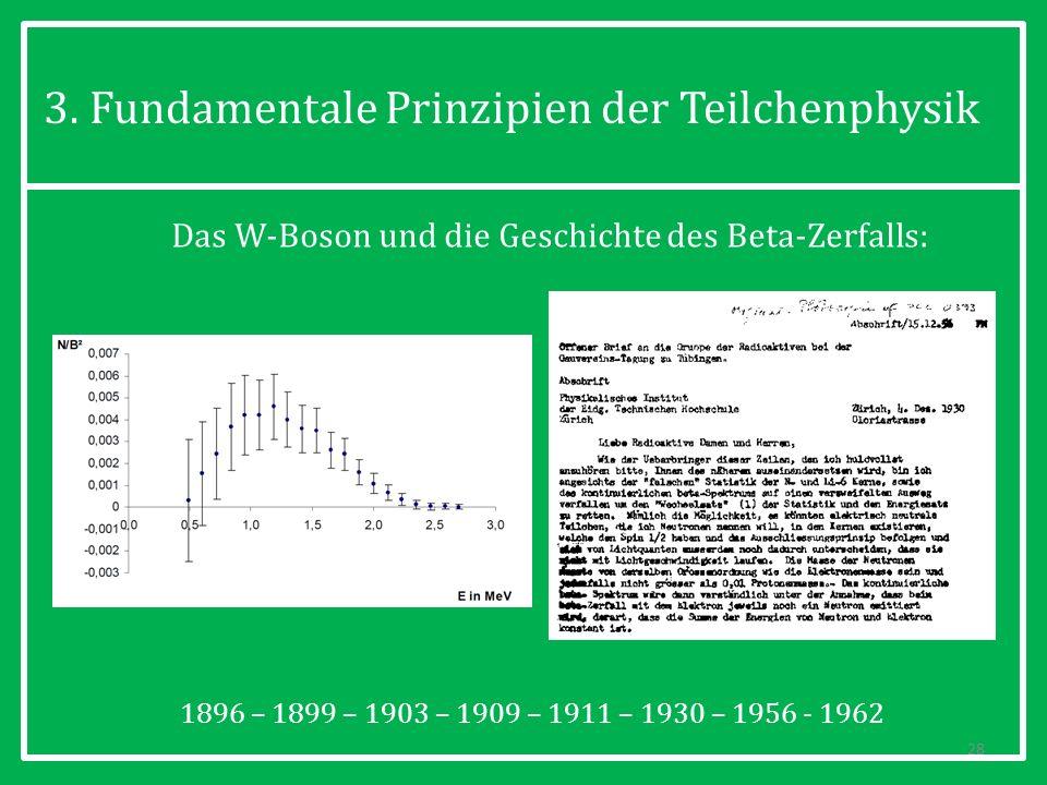 3. Fundamentale Prinzipien der Teilchenphysik 28 Das W-Boson und die Geschichte des Beta-Zerfalls: 1896 – 1899 – 1903 – 1909 – 1911 – 1930 – 1956 - 19