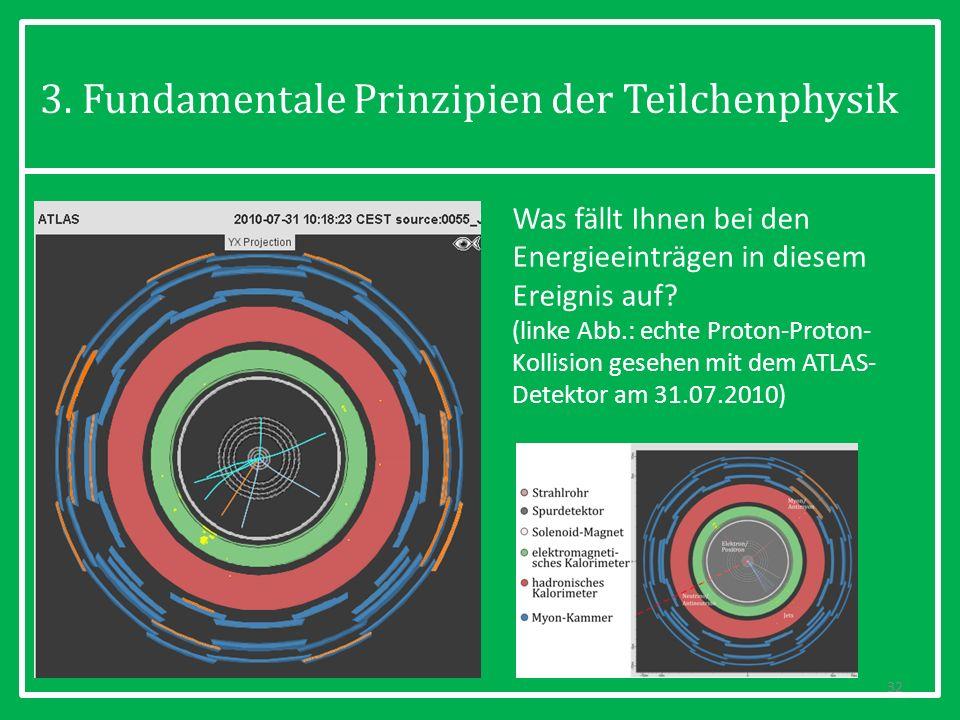 3. Fundamentale Prinzipien der Teilchenphysik 32 Was fällt Ihnen bei den Energieeinträgen in diesem Ereignis auf? (linke Abb.: echte Proton-Proton- Ko