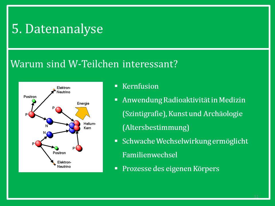 Warum sind W-Teilchen interessant? 51 5. Datenanalyse Kernfusion Anwendung Radioaktivität in Medizin (Szintigrafie), Kunst und Archäologie (Altersbest
