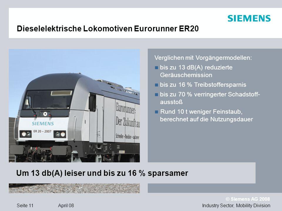 © Siemens AG 2008 Industry Sector, Mobility DivisionSeite 11 April 08 Dieselelektrische Lokomotiven Eurorunner ER20 Verglichen mit Vorgängermodellen: bis zu 13 dB(A) reduzierte Geräuschemission bis zu 16 % Treibstoffersparnis bis zu 70 % verringerter Schadstoff- ausstoß Rund 10 t weniger Feinstaub, berechnet auf die Nutzungsdauer Um 13 db(A) leiser und bis zu 16 % sparsamer