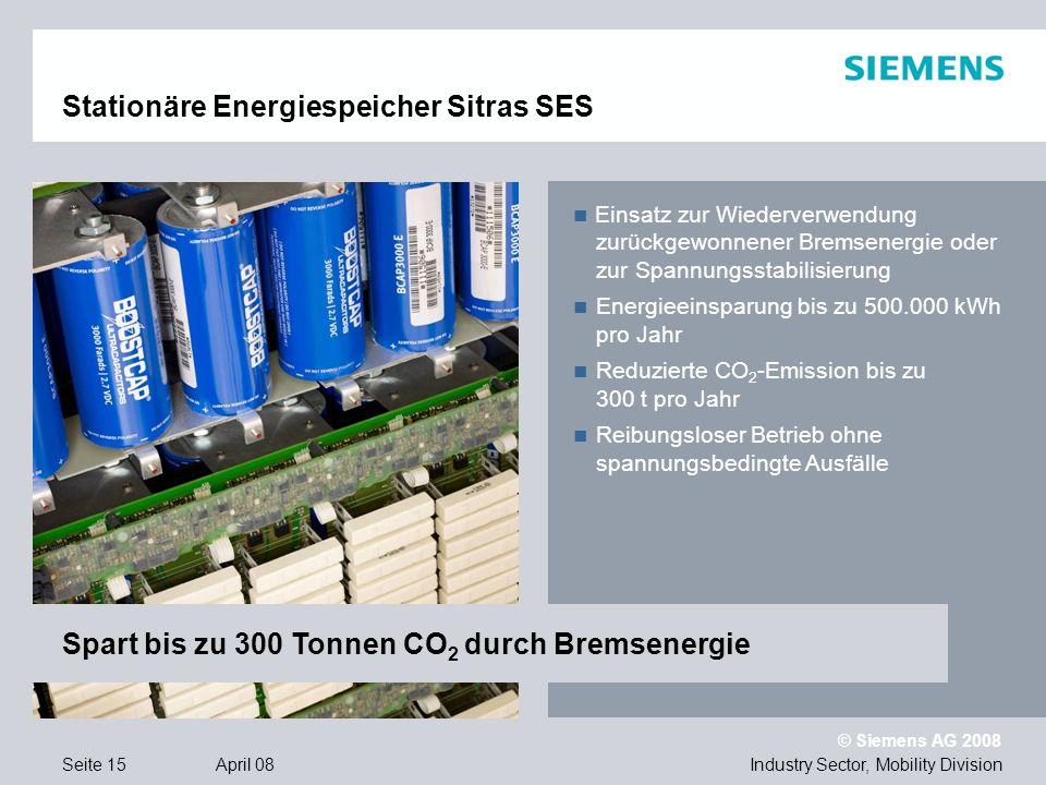 © Siemens AG 2008 Industry Sector, Mobility DivisionSeite 15 April 08 Stationäre Energiespeicher Sitras SES Einsatz zur Wiederverwendung zurückgewonnener Bremsenergie oder zur Spannungsstabilisierung Energieeinsparung bis zu 500.000 kWh pro Jahr Reduzierte CO 2 -Emission bis zu 300 t pro Jahr Reibungsloser Betrieb ohne spannungsbedingte Ausfälle Spart bis zu 300 Tonnen CO 2 durch Bremsenergie