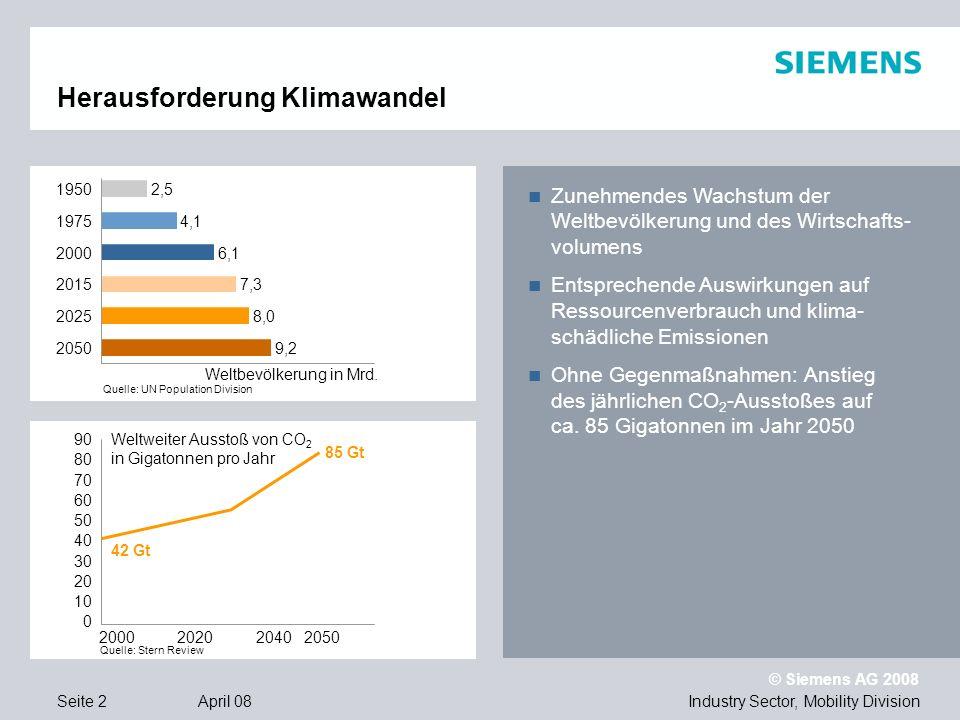 © Siemens AG 2008 Industry Sector, Mobility DivisionSeite 13 April 08 Drehgestell Syntegra Vollständige Integration von Antriebs-, Fahrwerk- und Bremstechnologie Bis zu 26 % Energieeinsparung, u.