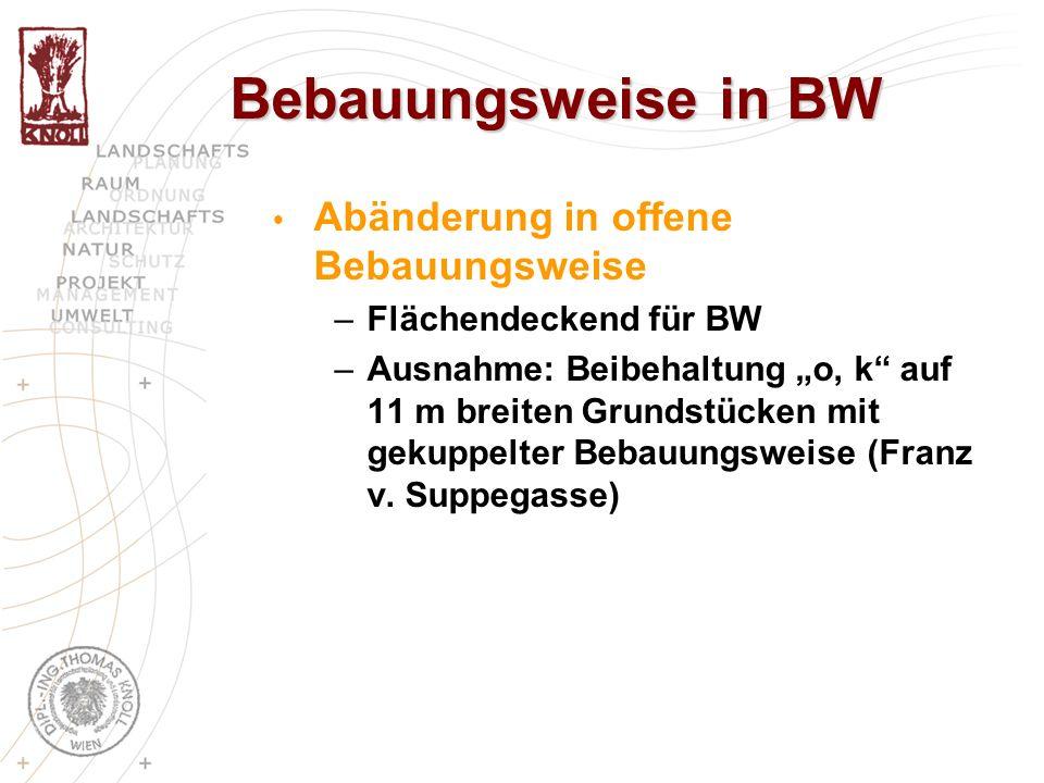 Bebauungsweise in BW Abänderung in offene Bebauungsweise –Flächendeckend für BW –Ausnahme: Beibehaltung o, k auf 11 m breiten Grundstücken mit gekuppe