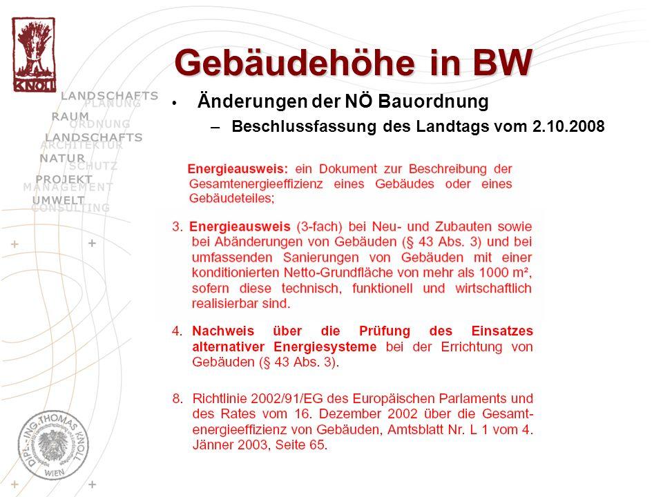 Gebäudehöhe in BW Änderungen der NÖ Bauordnung –Beschlussfassung des Landtags vom 2.10.2008
