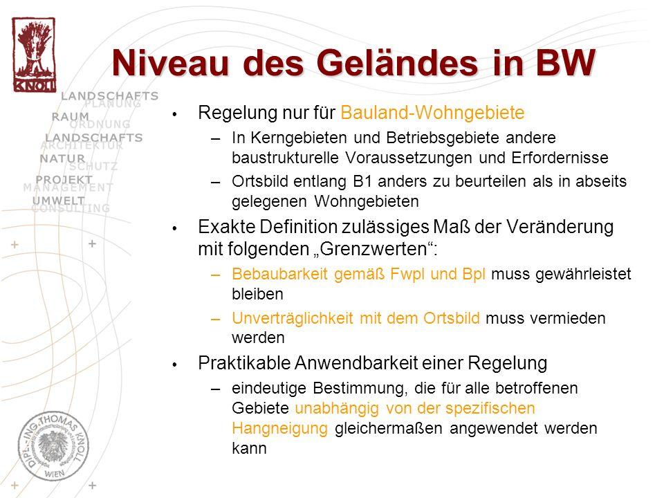 Regelung nur für Bauland-Wohngebiete –In Kerngebieten und Betriebsgebiete andere baustrukturelle Voraussetzungen und Erfordernisse –Ortsbild entlang B