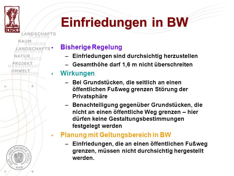 Einfriedungen in BW Bisherige Regelung –Einfriedungen sind durchsichtig herzustellen –Gesamthöhe darf 1,6 m nicht überschreiten Wirkungen –Bei Grundst