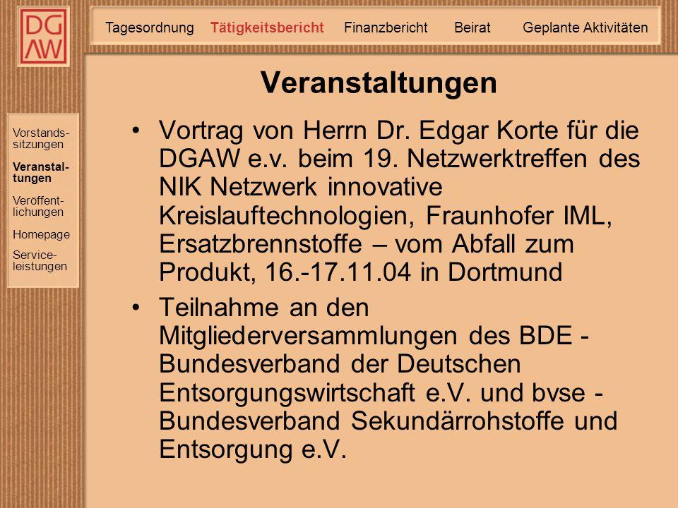 Vortrag von Herrn Dr. Edgar Korte für die DGAW e.v.