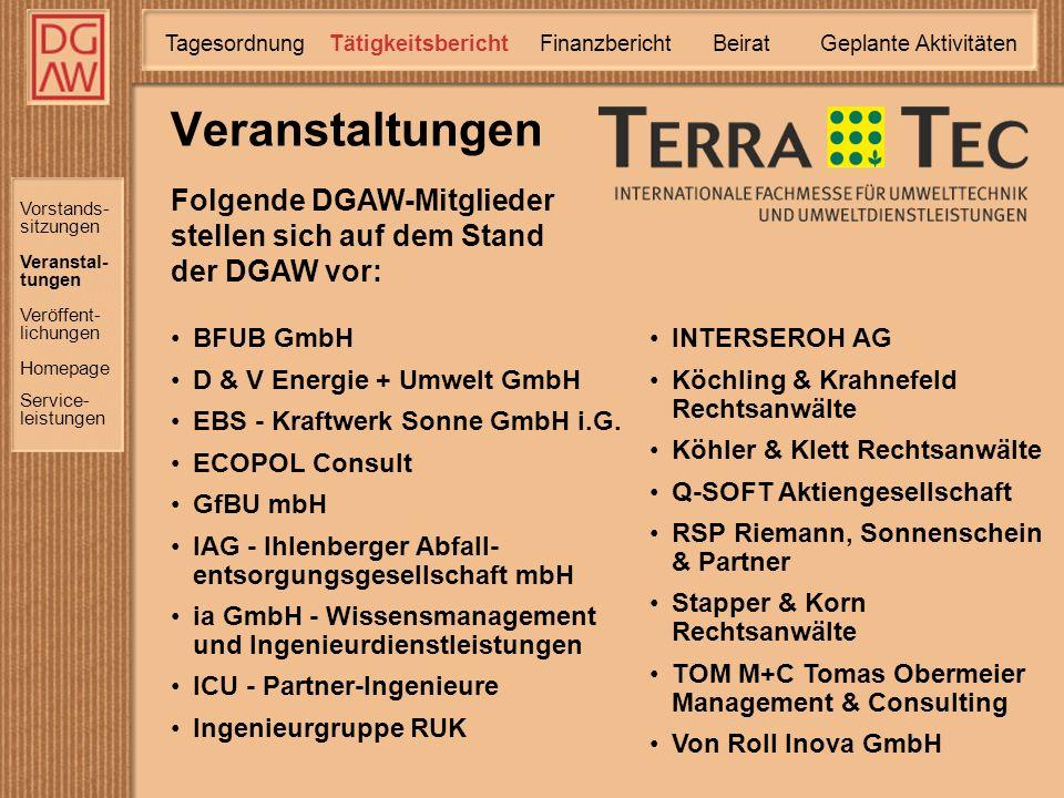 Vorstands- sitzungen Veranstal- tungen Homepage Service- leistungen Veröffent- lichungen Folgende DGAW-Mitglieder stellen sich auf dem Stand der DGAW vor: Veranstaltungen TätigkeitsberichtTagesordnung Finanzbericht Geplante Aktivitäten Beirat BFUB GmbH D & V Energie + Umwelt GmbH EBS - Kraftwerk Sonne GmbH i.G.