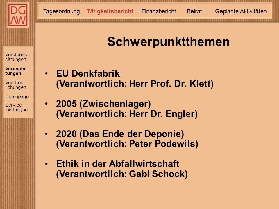 EU Denkfabrik (Verantwortlich: Herr Prof. Dr.