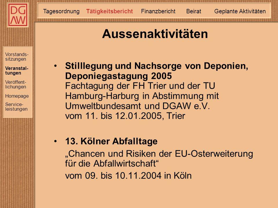 Aussenaktivitäten Stilllegung und Nachsorge von Deponien, Deponiegastagung 2005 Fachtagung der FH Trier und der TU Hamburg-Harburg in Abstimmung mit Umweltbundesamt und DGAW e.V.