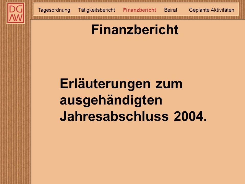 Finanzbericht TätigkeitsberichtTagesordnung Finanzbericht Geplante Aktivitäten Beirat Erläuterungen zum ausgehändigten Jahresabschluss 2004.