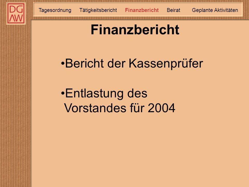 Finanzbericht TätigkeitsberichtTagesordnung Finanzbericht Geplante Aktivitäten Beirat Bericht der Kassenprüfer Entlastung des Vorstandes für 2004