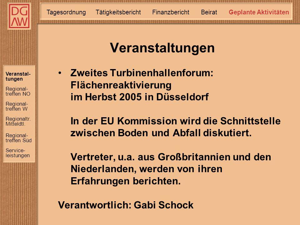 Zweites Turbinenhallenforum: Flächenreaktivierung im Herbst 2005 in Düsseldorf In der EU Kommission wird die Schnittstelle zwischen Boden und Abfall diskutiert.