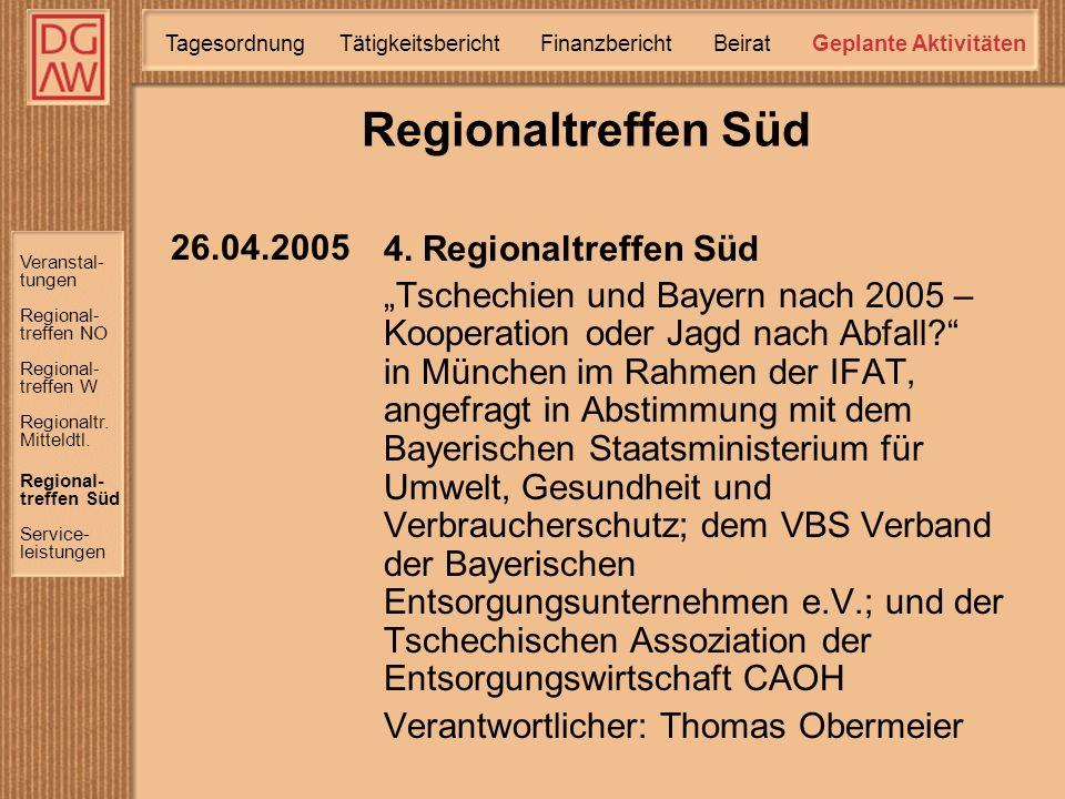 Veranstal- tungen Regional- treffen W Regional- treffen NO Regional- treffen Süd Service- leistungen Regionaltr.