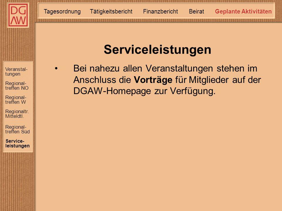 Serviceleistungen Veranstal- tungen Regional- treffen W Regional- treffen NO Regional- treffen Süd Service- leistungen Regionaltr.