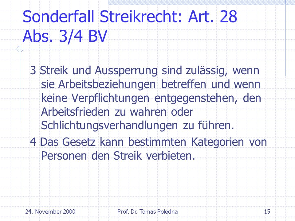 24. November 2000Prof. Dr. Tomas Poledna15 Sonderfall Streikrecht: Art.