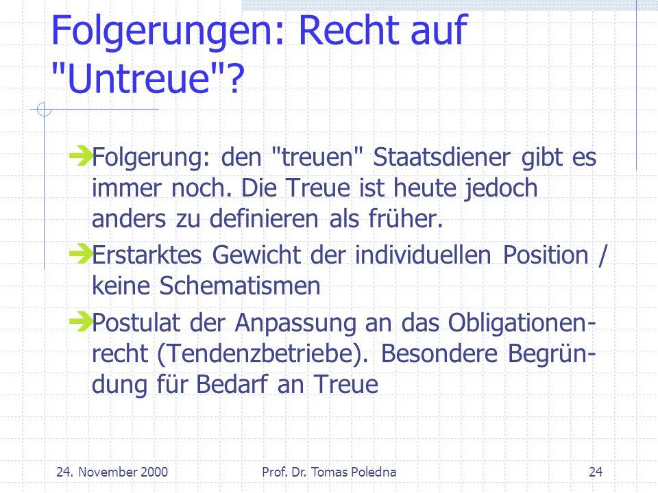 24. November 2000Prof. Dr. Tomas Poledna24 Folgerungen: Recht auf Untreue .