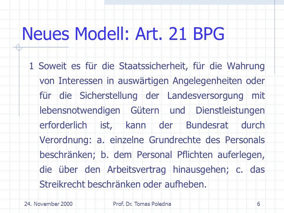 24.November 2000Prof. Dr. Tomas Poledna7 Treuepflicht und Grundrechte Grundsatzkonflikt Auflösung.