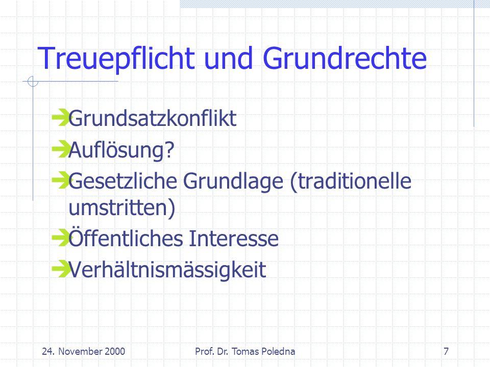 24.November 2000Prof. Dr. Tomas Poledna18 Fallbeispiele (2) Vorbildfunktion: keine Benützung PW.