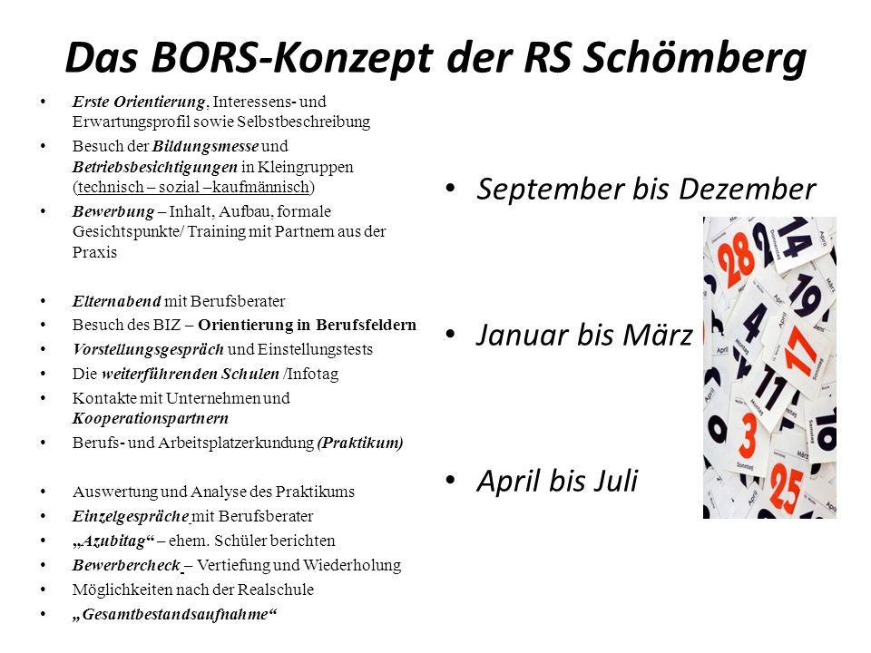 Das BORS-Konzept der RS Schömberg Erste Orientierung, Interessens- und Erwartungsprofil sowie Selbstbeschreibung Besuch der Bildungsmesse und Betriebs
