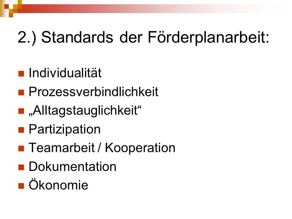 2.) Standards der Förderplanarbeit: Individualität Prozessverbindlichkeit Alltagstauglichkeit Partizipation Teamarbeit / Kooperation Dokumentation Öko