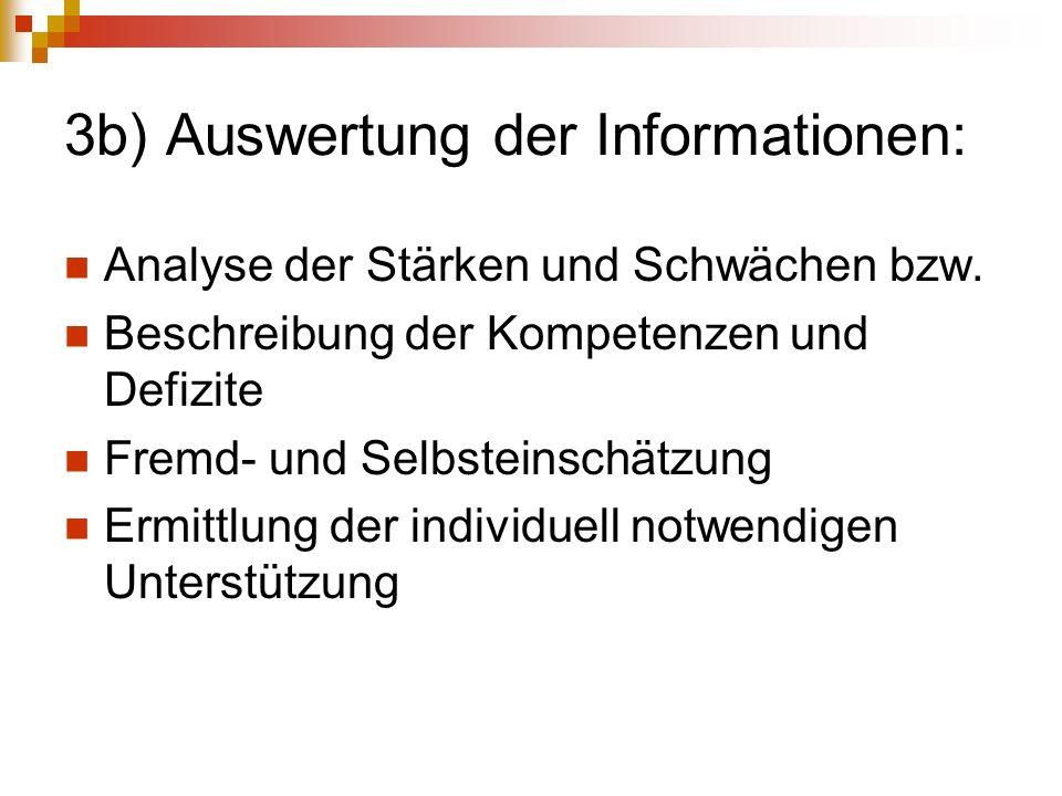 3b) Auswertung der Informationen: Analyse der Stärken und Schwächen bzw. Beschreibung der Kompetenzen und Defizite Fremd- und Selbsteinschätzung Ermit