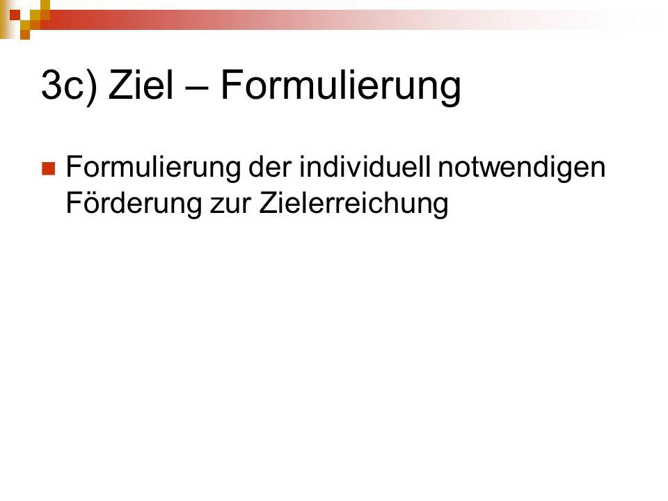 3c) Ziel – Formulierung Formulierung der individuell notwendigen Förderung zur Zielerreichung