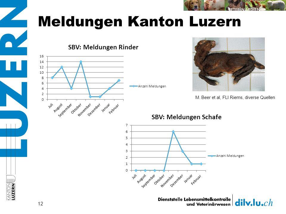 Meldungen Kanton Luzern 12 M. Beer et al, FLI Riems, diverse Quellen