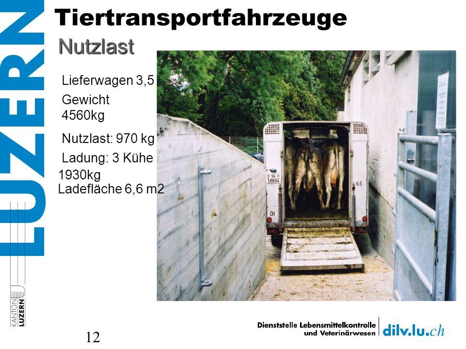 Tiertransportfahrzeuge 12 Nutzlast: 970 kg Lieferwagen 3,5 t Nutzlast Gewicht 4560kg Ladung: 3 Kühe 1930kg Ladefläche 6,6 m2