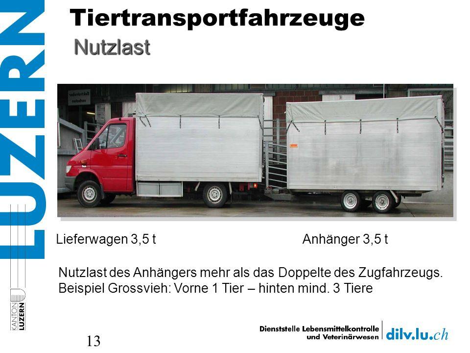 Tiertransportfahrzeuge 13 Lieferwagen 3,5 tAnhänger 3,5 t Nutzlast Nutzlast des Anhängers mehr als das Doppelte des Zugfahrzeugs. Beispiel Grossvieh: