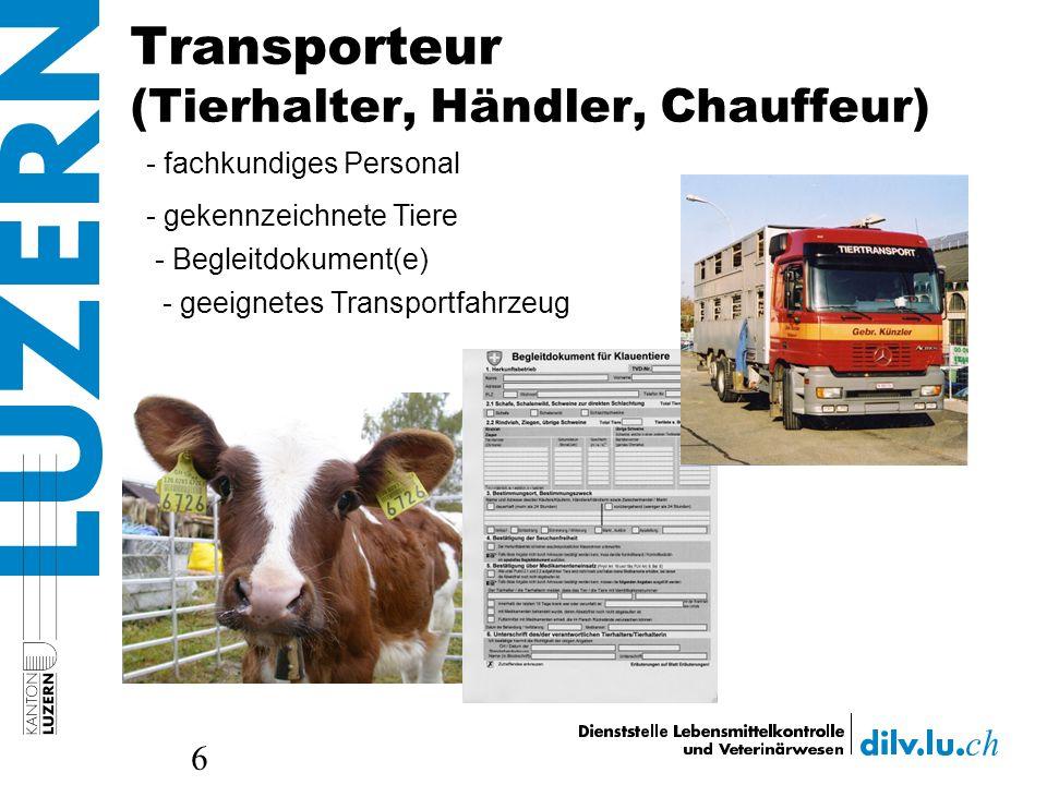 Transporteur (Tierhalter, Händler, Chauffeur) 6 - fachkundiges Personal - gekennzeichnete Tiere - Begleitdokument(e) - geeignetes Transportfahrzeug