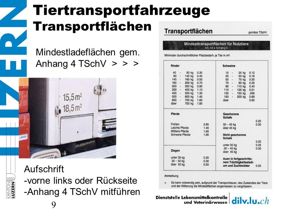 Tiertransportfahrzeuge Transportflächen 9 Aufschrift -vorne links oder Rückseite -Anhang 4 TSchV mitführen Mindestladeflächen gem. Anhang 4 TSchV > >